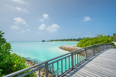 Tropical lagoon view from the bridge at Maldives Royalty Free Stock Image