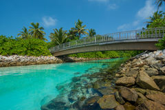 Tropical lagoon view with bridge at Maldives Stock Photos