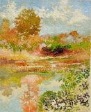 Tropical lake reflection impressionism oil acrylic painting. Tropical lake reflection pointillism impressionism oil acrylic painting blue sky Stock Photography
