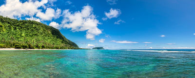 Tropical Lalomanu in Samoa. Beautiful panorama landscape of tropical Lalomanu in Samoa Stock Photo