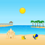 Tropical landscape. Illustration of beach landscape with sandcastle royalty free illustration