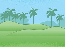Tropical Landscape. A tropical landscape with palm trees Stock Image