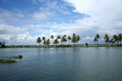 Tropical landscape. Tropical lake landscape in kerala stock images