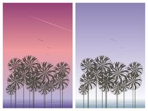 Tropical Landscape. Illustration of a tropical landscapes side by side Stock Photography