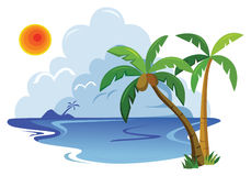 Tropical landscape. Tropical sea landscape. vector illustration Stock Photography
