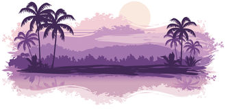 Tropical landscape. In lilac tones Royalty Free Stock Images