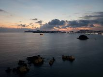 Tropical landscape of Acapulco bay at sunset. Located in the state of Guerrero, city with beach and tropical climate for vacation, saltwater Sea of the Pacific royalty free stock photo