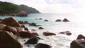 Tropical landscape of Anse Lazio, Prasin island, Seychelles. Tropical landscape of the coast of Anse Lazio, Prasin island, Seychelles stock footage