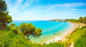 Tropical landscape with azure sea and clear blue sky. Costa Brava coastline. Spain. Spain tropical resort with clean beach. Summer vacation background stock photo