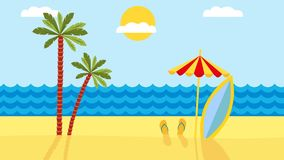 Tropical landscape with beach , sea and palm trees. Summer background with sea, palm trees, beach umbrella, surfboard. animation. Footage stock video