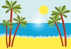 Tropical landscape with beach , sea and palm trees. Stock Image