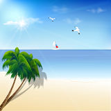 Tropical landscape with beach, sea, yatch and palm Royalty Free Stock Photography