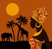 Tropical landscape. Beautiful black woman. African savannah card Royalty Free Stock Photo