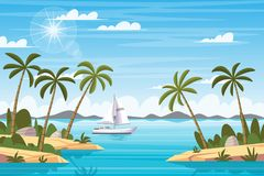 Tropical Landscape With Boat. And palm trees vector illustration