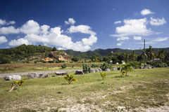 Tropical landscape on Caribbean Island Antigua. West Indies Royalty Free Stock Photo