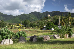 Tropical landscape of the Caribbean Island Antigua. West Indies Stock Photos