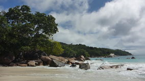Tropical landscape of the coast of Anse Lazio, Prasin island, Seychelles stock video footage