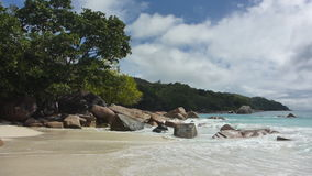 Tropical landscape of the coast of Anse Lazio, Prasin island, Seychelles. Tropical landscape of Anse Lazio, Prasin island, Seychelles in slow motion stock footage