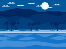 Tropical landscape. Coast with palm trees and mountains in the background. Vector Stock Photography