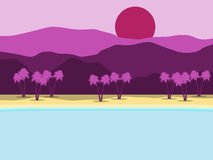 Tropical landscape. Coast with palm trees and mountains in the background. Vector Royalty Free Stock Photo