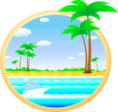Tropical landscape with cruise ship Stock Images