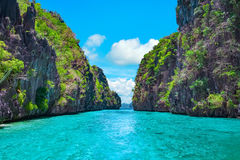 Tropical landscape, El Nido, Palawan, Philippines. Beautiful tropical blue lagoon. Scenic landscape with sea bay and mountain islands, El Nido, Palawan Royalty Free Stock Photography