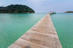 Tropical landscape of Koh Kood. Summer landscape on tropical koh Kood island in Thailand. Landscape with long wooden pier taken on Bang Bao beach Stock Photo
