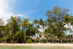 Tropical landscape of Koh Kood. Summer landscape on tropical koh Kood island in Thailand. Panorama of white sand beach with coconut palms taken on Klong Chao Stock Image