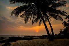Tropical landscape of Koh Kood. Summer landscape on tropical koh Kood island  in Thailand. Landscape with sea taken from Ao Tapao beach during sunset Royalty Free Stock Photo