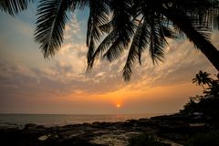 Tropical landscape of Koh Kood. Summer landscape on tropical koh Kood island  in Thailand. Landscape with sea taken from Ao Tapao beach during sunset Royalty Free Stock Photography