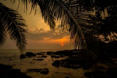Tropical landscape of Koh Kood. Summer landscape on tropical koh Kood island  in Thailand. Landscape with sea taken from Ao Tapao beach during sunset Royalty Free Stock Image