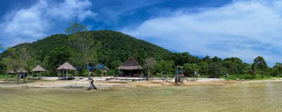 Tropical landscape of Koh Rong Samloem island with Blue dolphin Resort Royalty Free Stock Photo