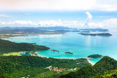 Tropical landscape of Langkawi island. Beautiful tropical landscape of the seashore of Langkawi island, Malaysia stock images
