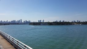 Tropical landscape of Miami coast in a sunny day, view from a bridge. Travel and tourism in United States, nature and ocean, blue water and waves, blue sky royalty free stock photography