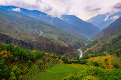 Tropical landscape mountain valley, Annapurna area, Nepal Stock Images