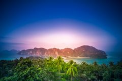 Tropical landscape. Mountains with green forest landscape in sunset time. Thailand Stock Images