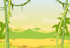 Tropical landscape. With mountains and plants Royalty Free Stock Photo