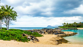 Tropical landscape and ocean view at the Ko Olina Lagoons Royalty Free Stock Photography