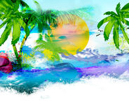 Tropical landscape. Painting brush  background with sea  palm and sun Stock Images