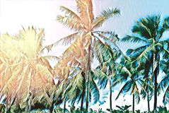 Tropical landscape with palm trees. Tropical nature faded digital illustration. Stock Image