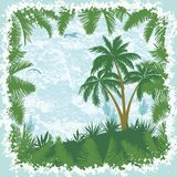 Tropical landscape, palms trees and seagulls Stock Photo