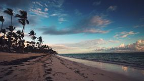 Landscape of tropical island beach Punta Cana, Dominican Republic stock video footage