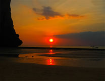 The tropical landscape. Railay, Krabi, Thailand at sunset Royalty Free Stock Photos