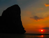 The tropical landscape. Railay, Krabi, Thailand at sunset Stock Images
