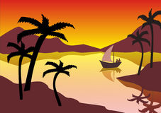 Tropical landscape with reflections Stock Images