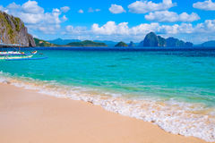 Tropical landscape of sandy beach. Palawan, Philippines, Southeast Asia Royalty Free Stock Image