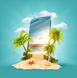 Tropical landscape on the screen of smartphone stock illustration