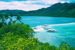 Tropical landscape, sea bay and mountain islands Royalty Free Stock Image