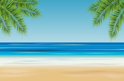 Tropical landscape with sea, sandy beach and palm trees - vector. Illustration Stock Photos