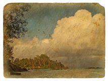 Tropical landscape, Seychelles.. Old postcard. Stock Images